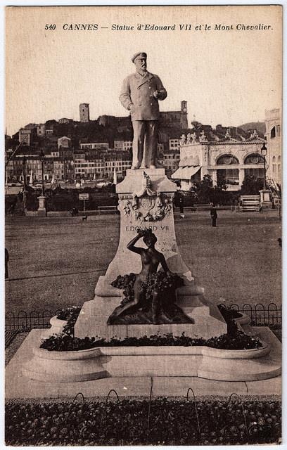 Edward VII Cannes statue postcard
