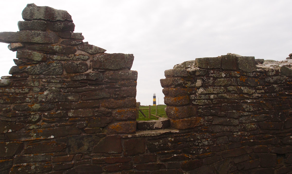 St Johns Point Lighthouse, from ruins of church, County Down