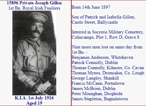 World War 1 - Casualty from Ballycastle