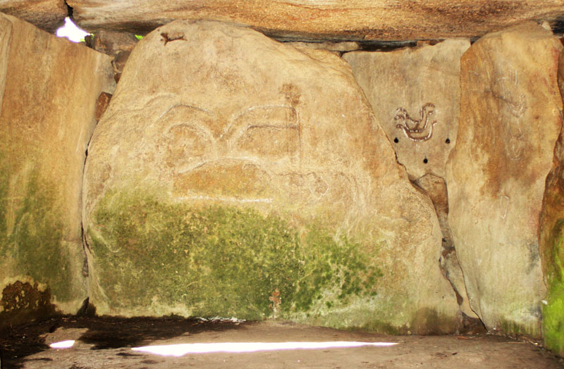 Dolmen at Mané-Lud, Brittany - Engravings