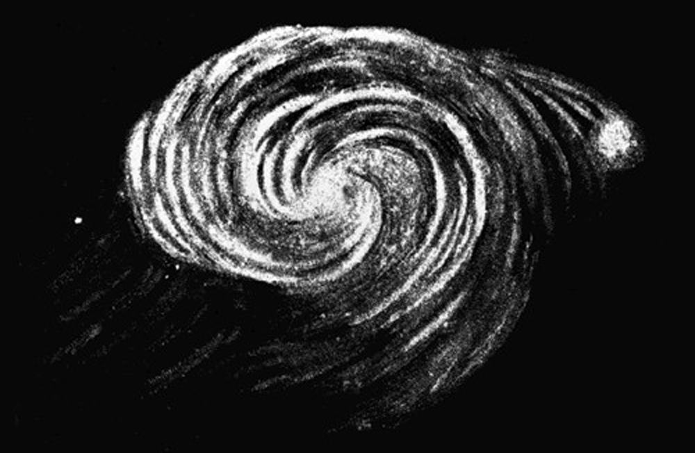 Drawing of the spiral form of the Andromeda Galaxy