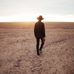 Man walking on a plain